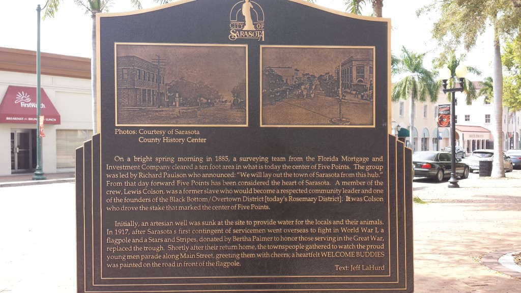 Fig. 2 Plaque describing the flagpole in downtown Sarasota.
