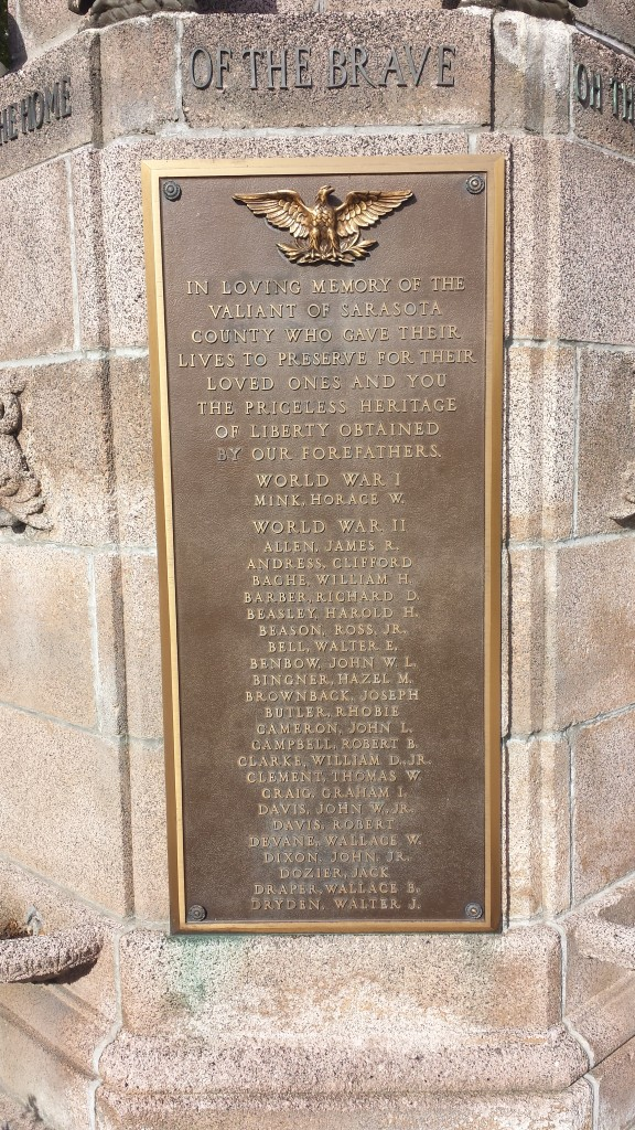 Fig. 6 List of Veterans on Sarasota's War Memorial.