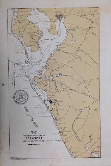 Fig. 1 1914 Map of Sarasota, Florida and the Sarasota Bay District of  Manatee County.