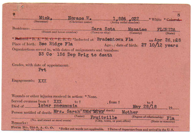 Fig. 2 Horace W. Mink's Service Card.