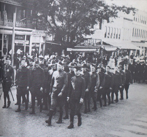 Fig. 3 Soldiers in Sarasota's Armistice Day parade, 1919.